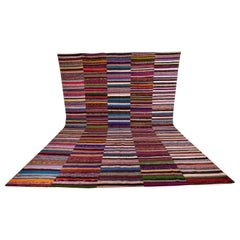 Vintage Anatolian Large Rag Rug, Mid-20th Century