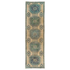 3x10.4 Ft Vintage Oushak Runner. Beige, Blue, Green Colors. 100% Wool Rug