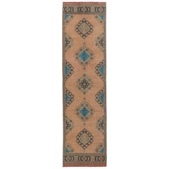 3.3 x 11.4 Ft - Vintage Turkish Oushak Runner. Hand-knotted Wool Rug