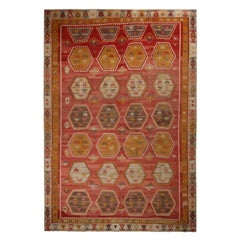 Vintage Anatolian Red and Beige Brown Wool Kilim Rug with Gold and Blue Accents