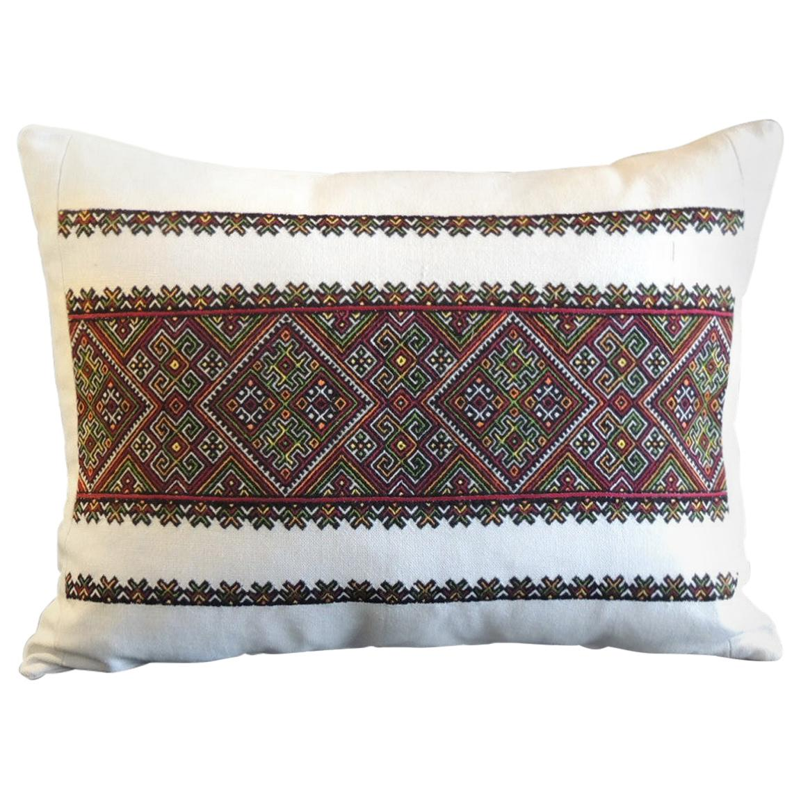 Vintage Anatolian Red and Green Embroidery Bolster Pillow
