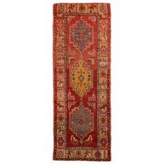 Vintage Anatolian Red and Yellow Wool Runner Geometric Pattern