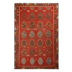 Vintage Anatolian Russet Red and Brown Wool Kilim Rug