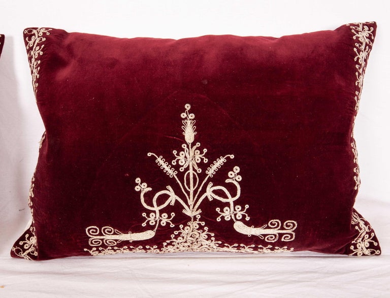 Tribal Vintage Anatolian Velvet Pillow Cases, Mid-20th Century For Sale