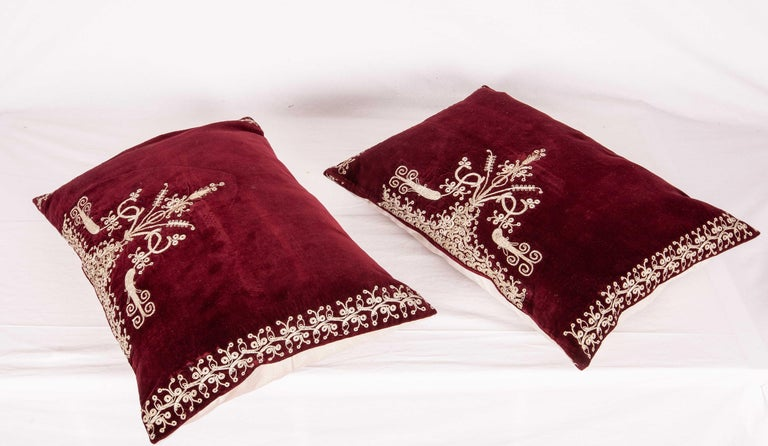 Embroidered Vintage Anatolian Velvet Pillow Cases, Mid-20th Century For Sale