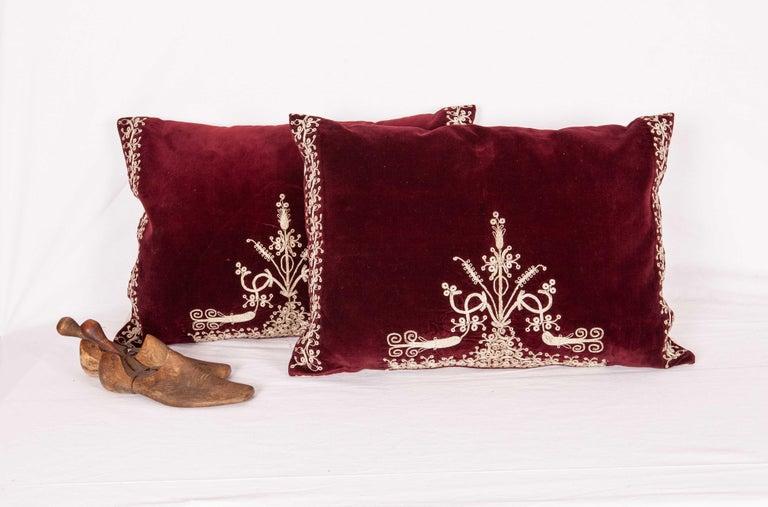 Vintage Anatolian Velvet Pillow Cases, Mid-20th Century For Sale 1