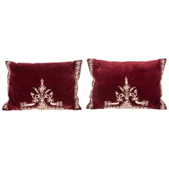 Vintage Anatolian Velvet Pillow Cases, Mid-20th Century