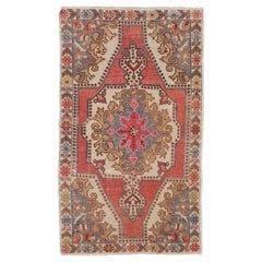 4.2 x 7.2 Ft Vintage Handmade Area Rug. Ca 1960. Wool Carpet for Home & Office