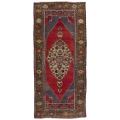 Vintage Anatolian Village Rug, Traditional Wool Oriental Rug in Red and Blue