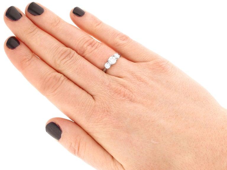 Women's 1.24 Carat Diamond and Platinum Three-Stone Ring For Sale