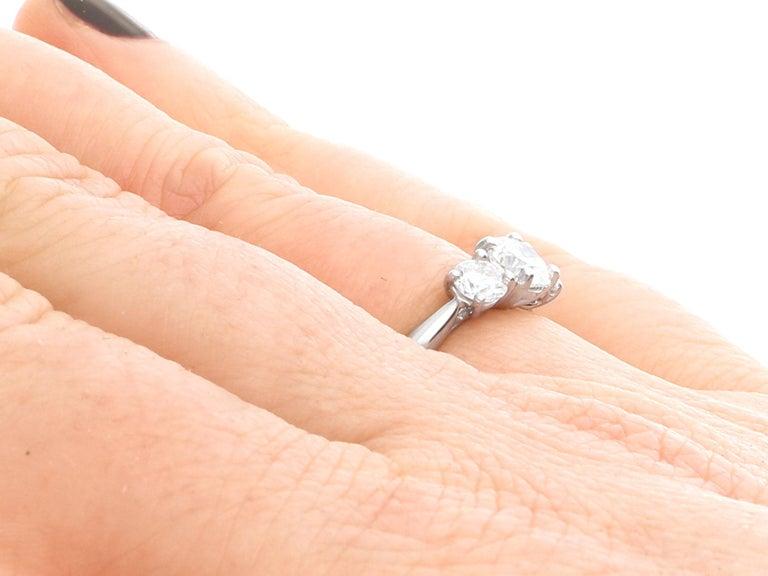 1.24 Carat Diamond and Platinum Three-Stone Ring For Sale 1