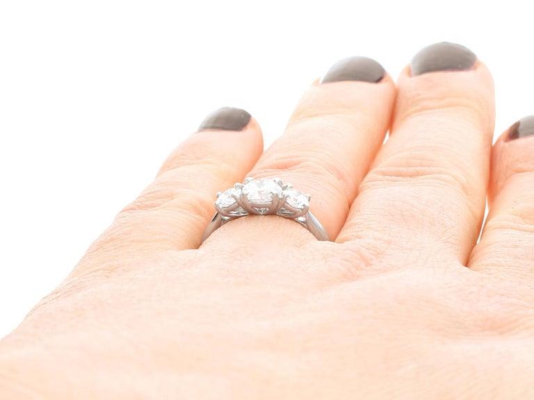 1.24 Carat Diamond and Platinum Three-Stone Ring For Sale 2