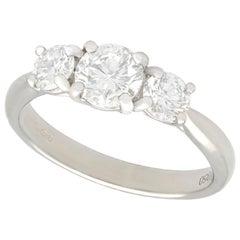 1.24 Carat Diamond and Platinum Three-Stone Ring