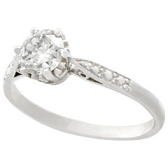 Vintage and Contemporary Diamond and Platinum Solitaire Ring