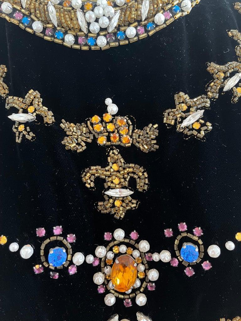 Black Vintage and Rare Oscar de la Renta Gown with Jeweled Neckline For Sale