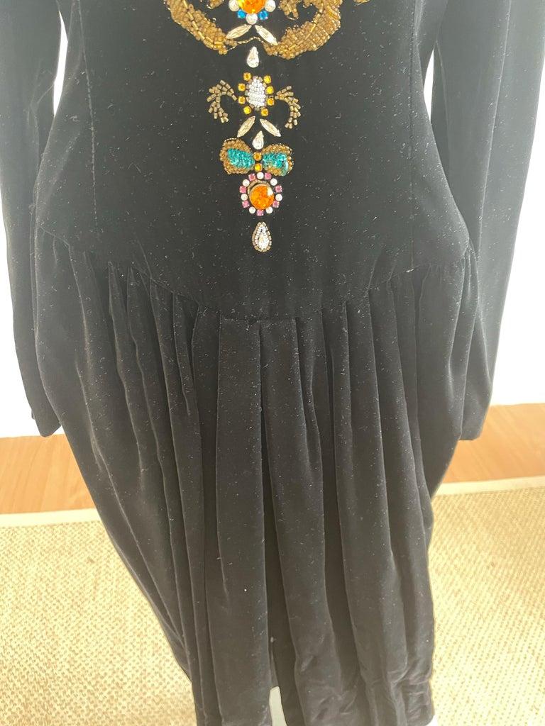 Women's or Men's Vintage and Rare Oscar de la Renta Gown with Jeweled Neckline For Sale