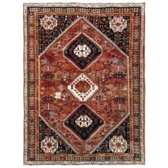 Vintage and Worn Down Persian Qashqai with Sunset Colors Hand Knotted Wool Rug