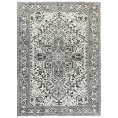 Vintage and Worn Washed Out Ivory Persian Heriz Oriental Rug