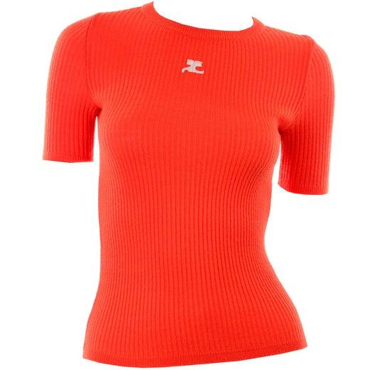 Vintage Andre Courreges Paris Crewneck Sweatshirt Embroidery Big Logo Pink France Designer Pullover Jumper Size M
