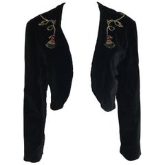 Vintage Andres Belgian Black Velvet Cropped Jacket with Gold Tassel Embroidery