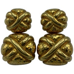 Vintage Andrew Clunn Yellow Gold Door Knockers Clip- On Earrings