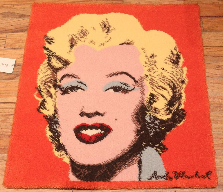 Machine-Made Vintage After Andy Warhol Marilyn Monroe Rug. Size: 2 ft 8 in x 3 ft For Sale
