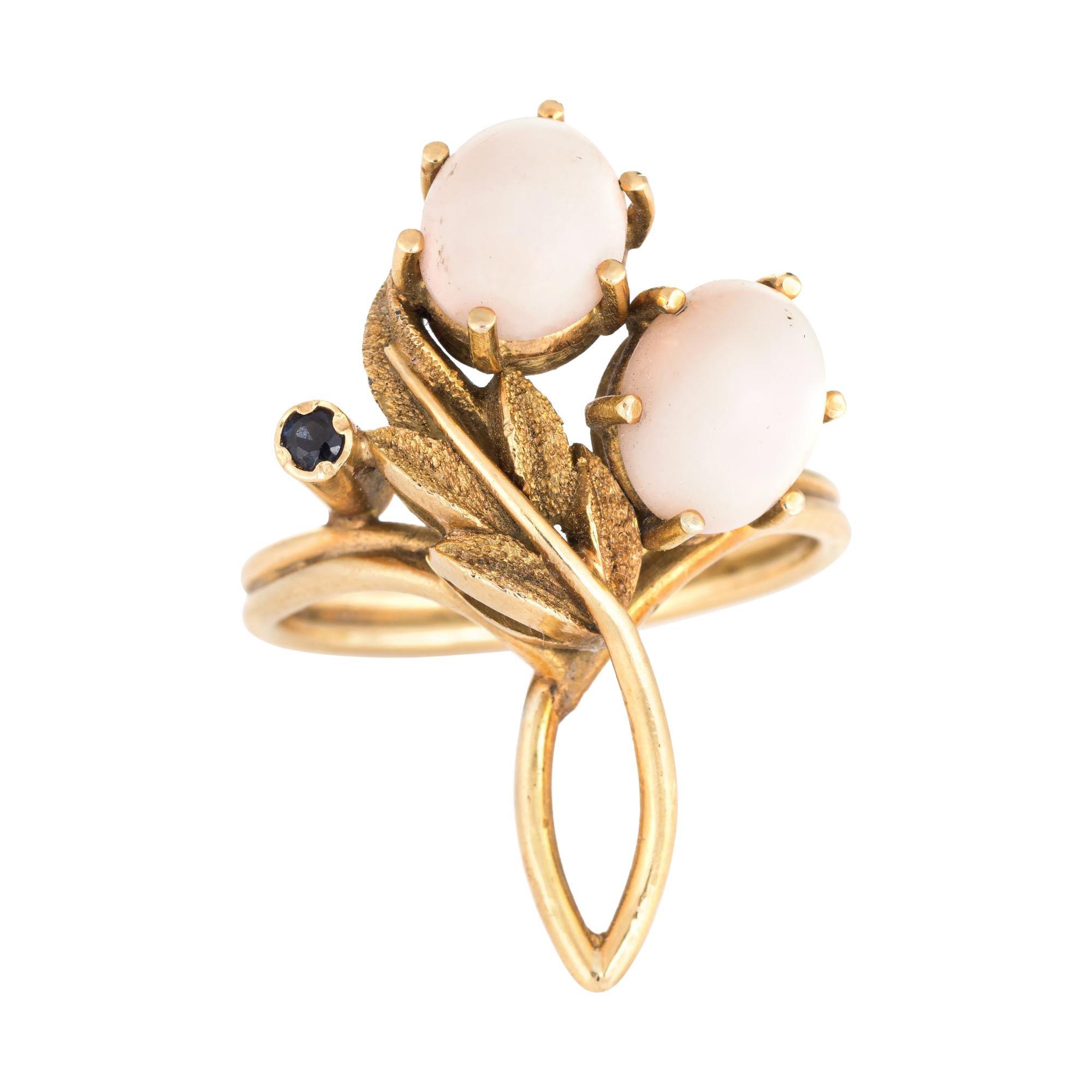 Vintage Angel Skin Coral Ring 14 Karat Gold Sapphire Flower Jewelry Estate