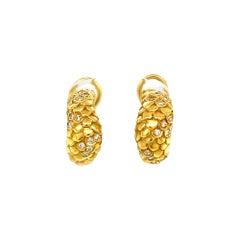 Vintage Angela Cummings 18 Karat Textured Gold Diamond Hoop Earrings