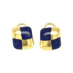 Vintage Angela Cummings Lapis Inlay Square 18 Karat Gold Earrings