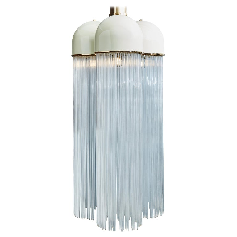 Vintage Angelo Brotto for Esperia Chandelier in Enameled Metal with Glass Rods For Sale
