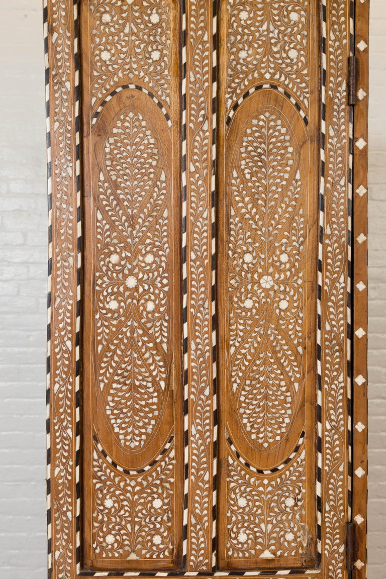 Vintage Anglo Indian Bone Inlaid Wardrobe Cabinet with Ebonized Accents For Sale 6