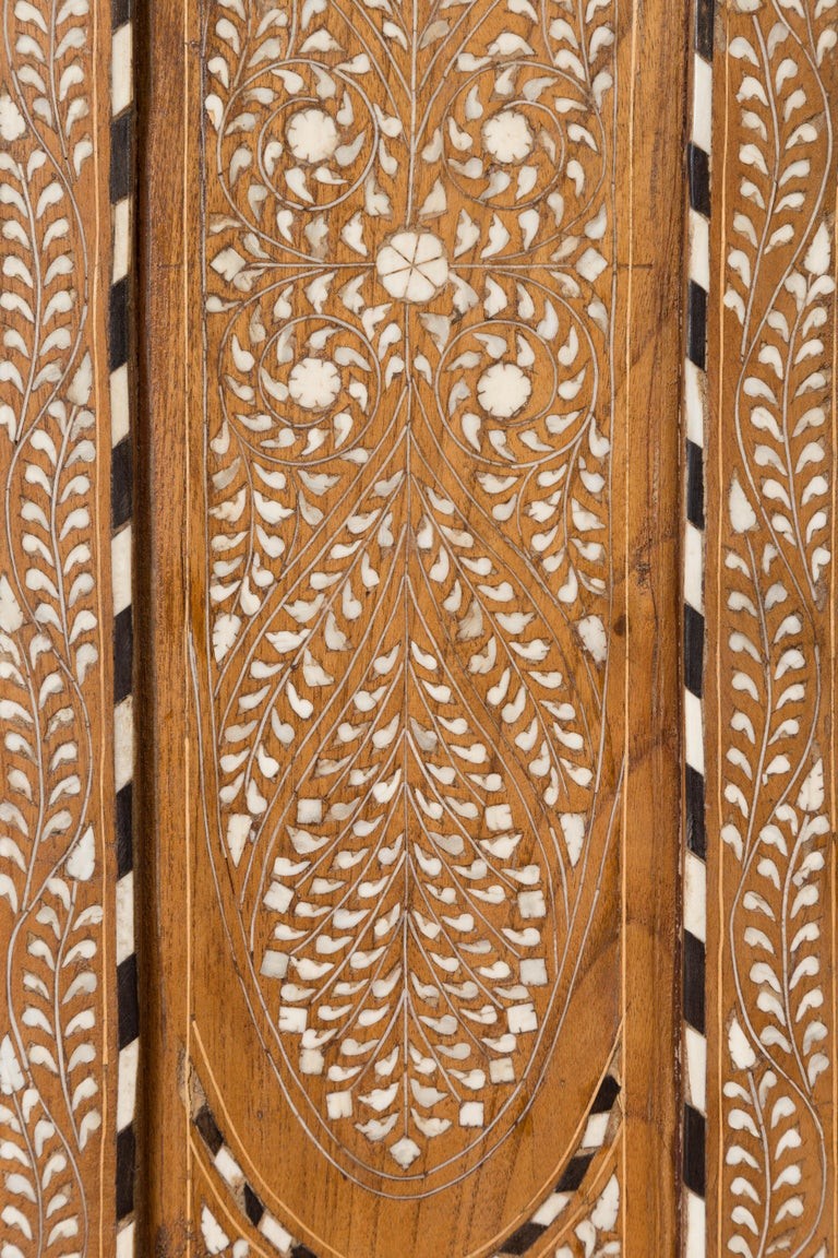 Vintage Anglo Indian Bone Inlaid Wardrobe Cabinet with Ebonized Accents For Sale 8