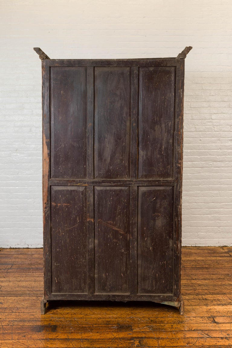 Vintage Anglo Indian Bone Inlaid Wardrobe Cabinet with Ebonized Accents For Sale 9