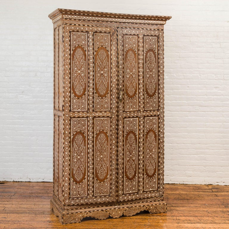 Anglo-Indian Vintage Anglo Indian Bone Inlaid Wardrobe Cabinet with Ebonized Accents For Sale