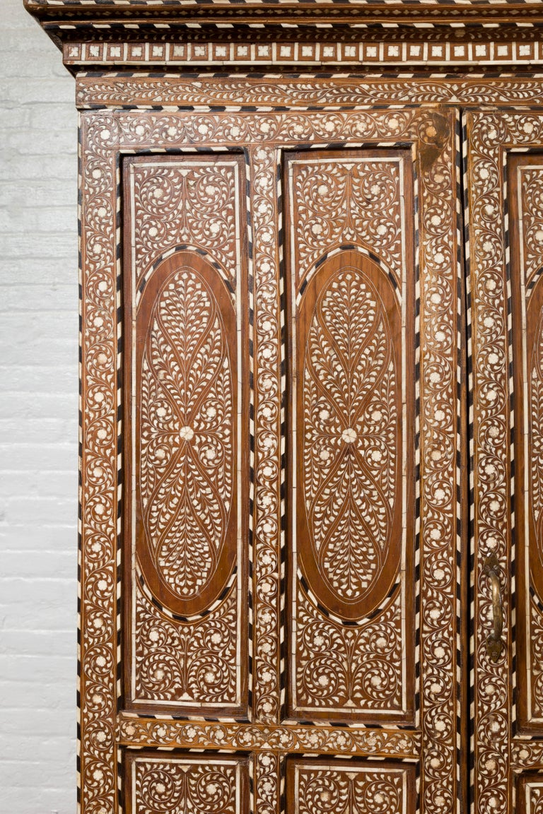 Inlay Vintage Anglo Indian Bone Inlaid Wardrobe Cabinet with Ebonized Accents For Sale