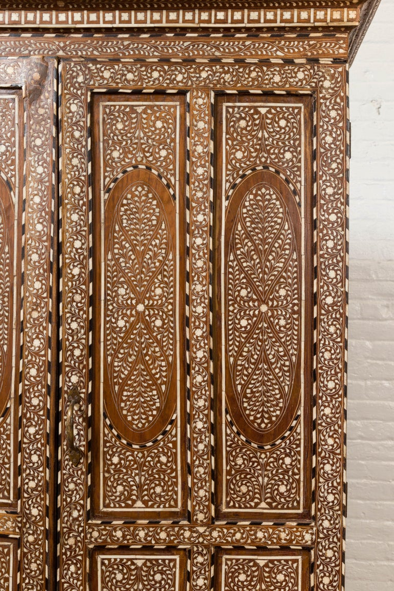 Vintage Anglo Indian Bone Inlaid Wardrobe Cabinet with Ebonized Accents In Good Condition For Sale In Yonkers, NY