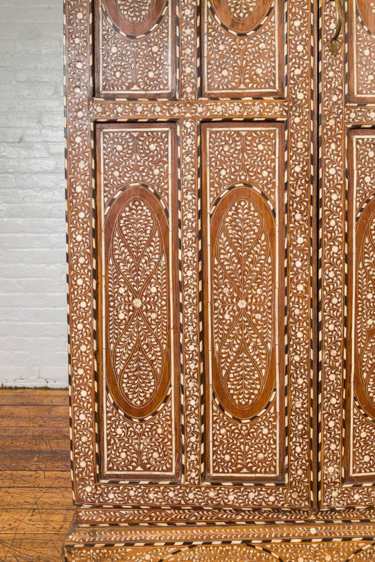 20th Century Vintage Anglo Indian Bone Inlaid Wardrobe Cabinet with Ebonized Accents For Sale