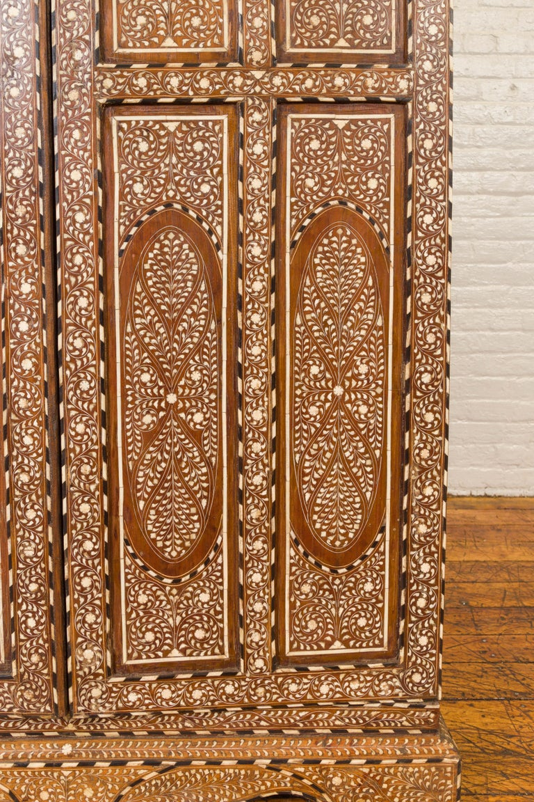 Wood Vintage Anglo Indian Bone Inlaid Wardrobe Cabinet with Ebonized Accents For Sale