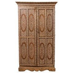 Vintage Anglo Indian Bone Inlaid Wardrobe Cabinet with Ebonized Accents
