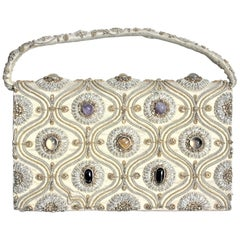 Vintage Anglo-Indian Hand-Crafted Clutch Purse or Evening Bag with Inset Stones