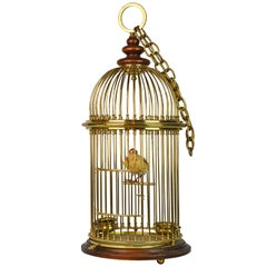 Vintage Anglo Indian Solid Brass and Wood Domed Bird Cage with Bird