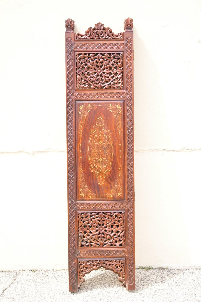 Vintage Anglo Indian Teak Wood Brass Inlay 4 Panel Room Divider Folding Screen For Sale 5