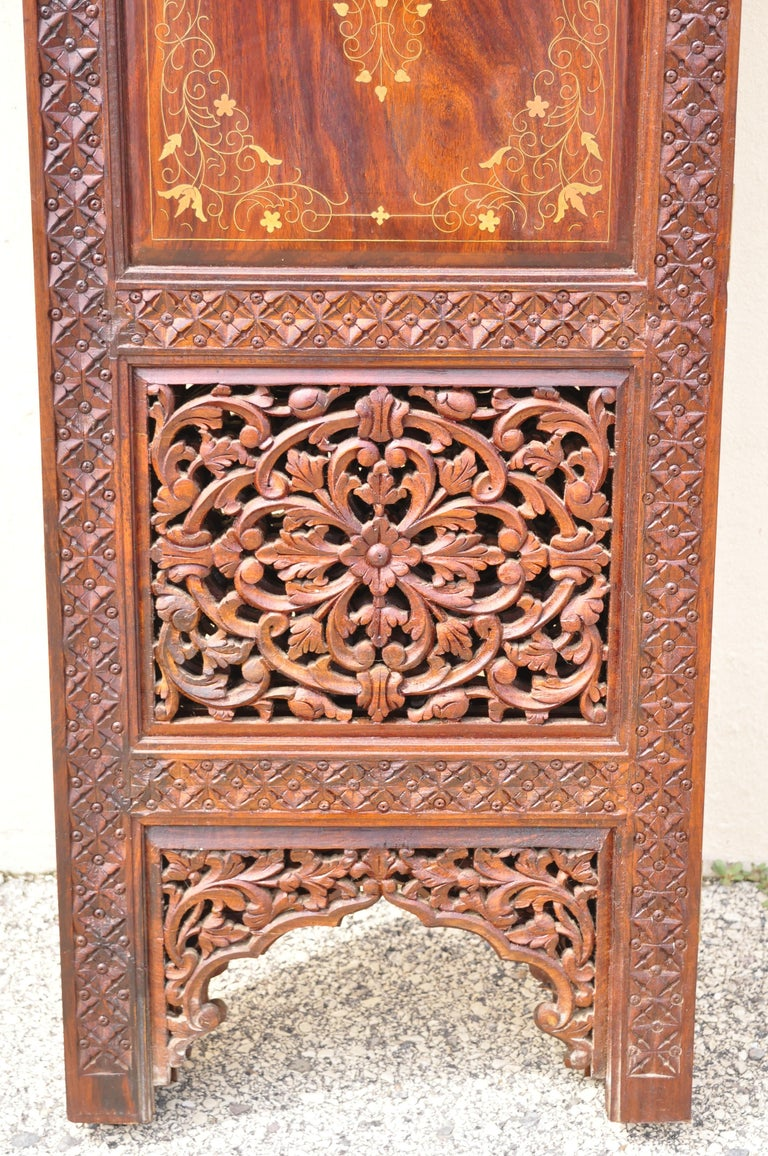 Vintage Anglo Indian Teak Wood Brass Inlay 4 Panel Room Divider Folding Screen For Sale 6