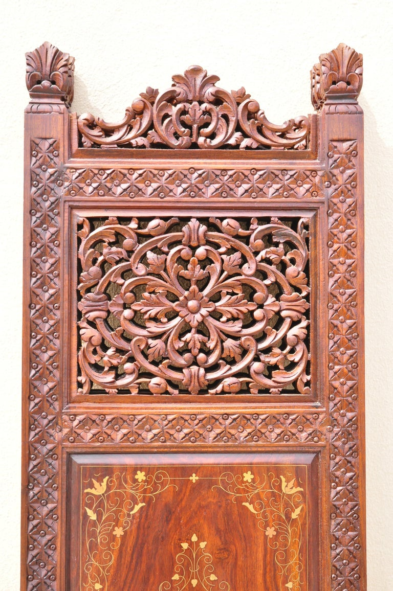 Vintage Anglo Indian Teak Wood Brass Inlay 4 Panel Room Divider Folding Screen For Sale 7