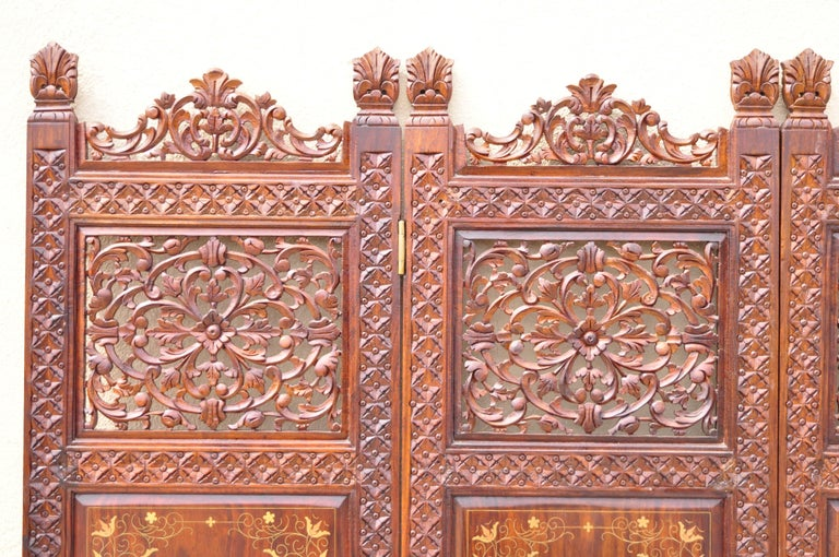 Spanish Colonial Vintage Anglo Indian Teak Wood Brass Inlay 4 Panel Room Divider Folding Screen For Sale