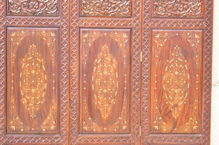 20th Century Vintage Anglo Indian Teak Wood Brass Inlay 4 Panel Room Divider Folding Screen For Sale