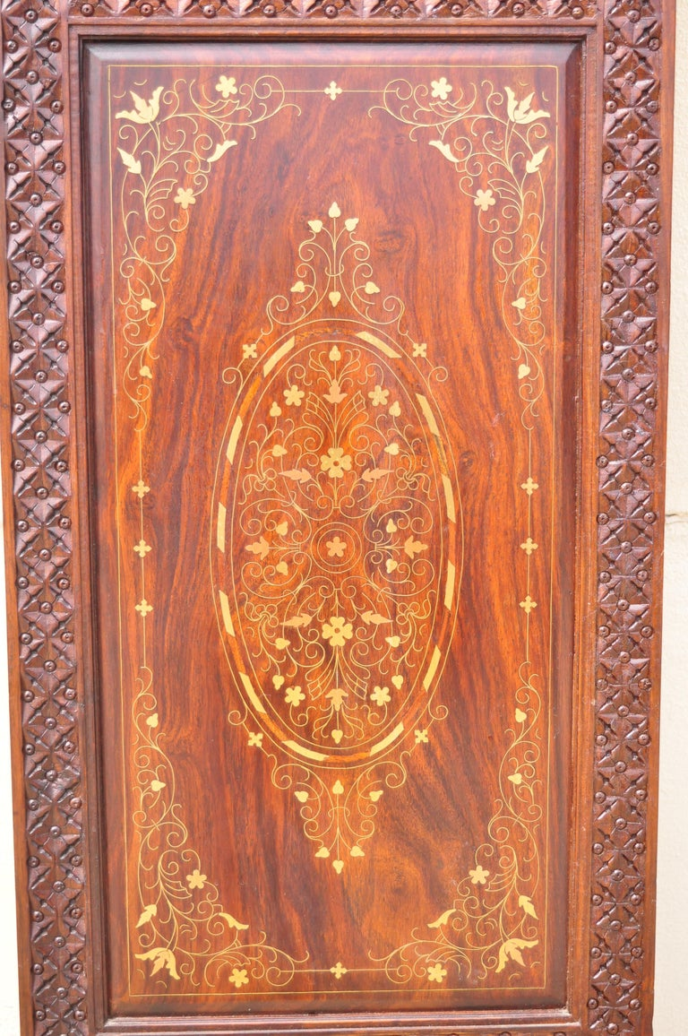 Vintage Anglo Indian Teak Wood Brass Inlay 4 Panel Room Divider Folding Screen For Sale 1