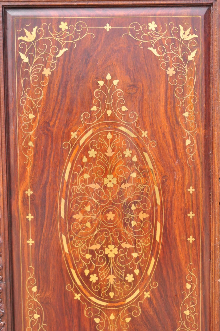 Vintage Anglo Indian Teak Wood Brass Inlay 4 Panel Room Divider Folding Screen For Sale 2