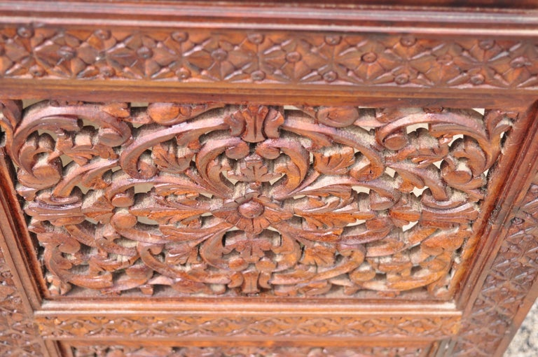 Vintage Anglo Indian Teak Wood Brass Inlay 4 Panel Room Divider Folding Screen For Sale 3