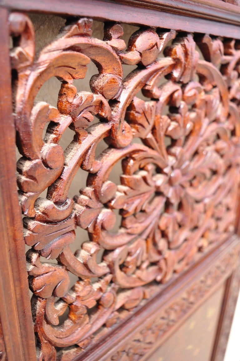 Vintage Anglo Indian Teak Wood Brass Inlay 4 Panel Room Divider Folding Screen For Sale 4